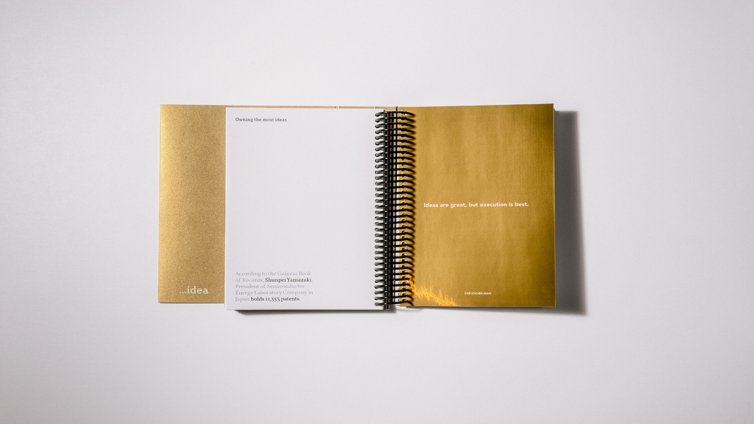DAIS - Ten Year Project (2010 - 2019) White and gold internal spread of book