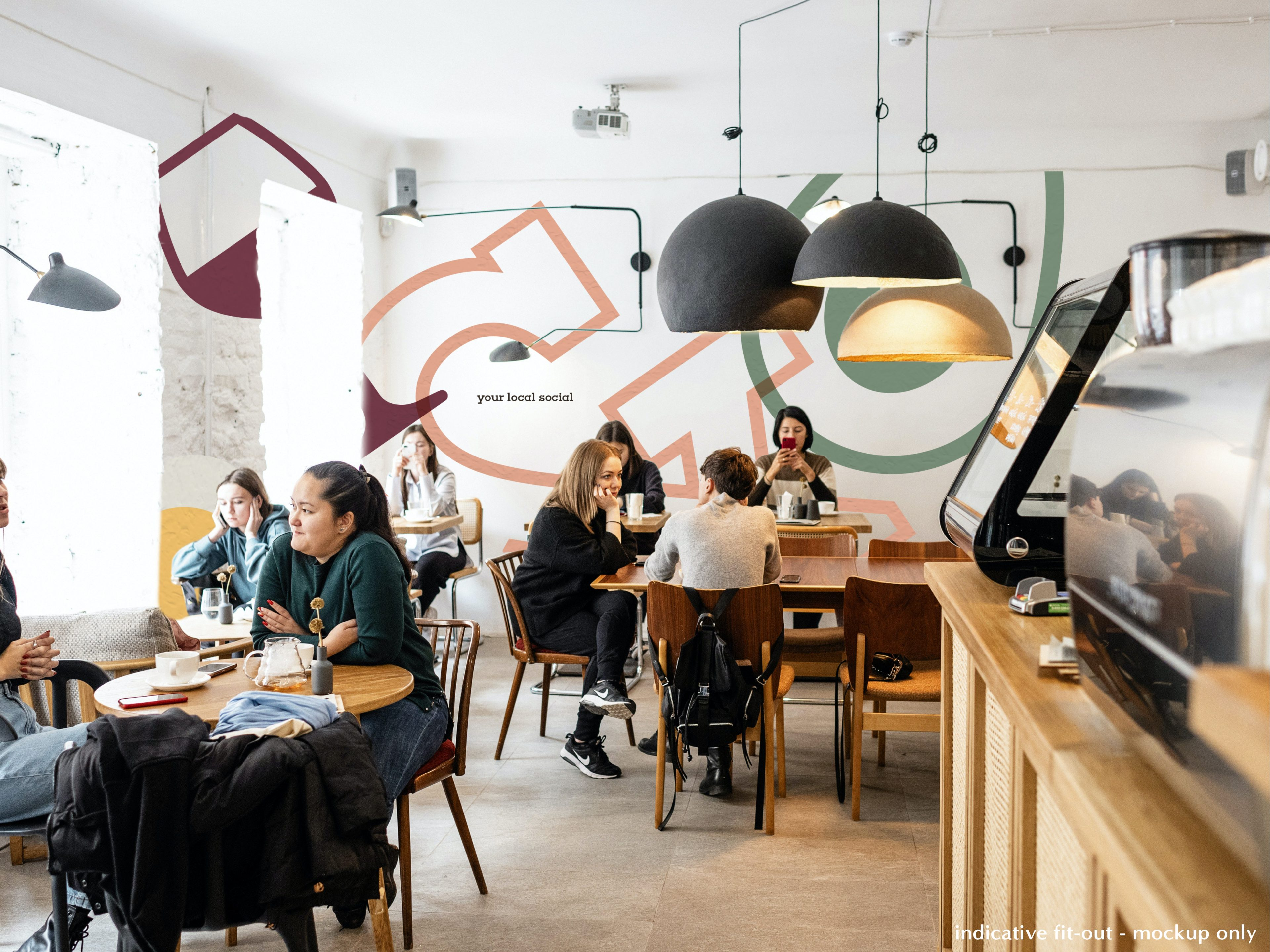 Mockup Image of the inside of the cafe