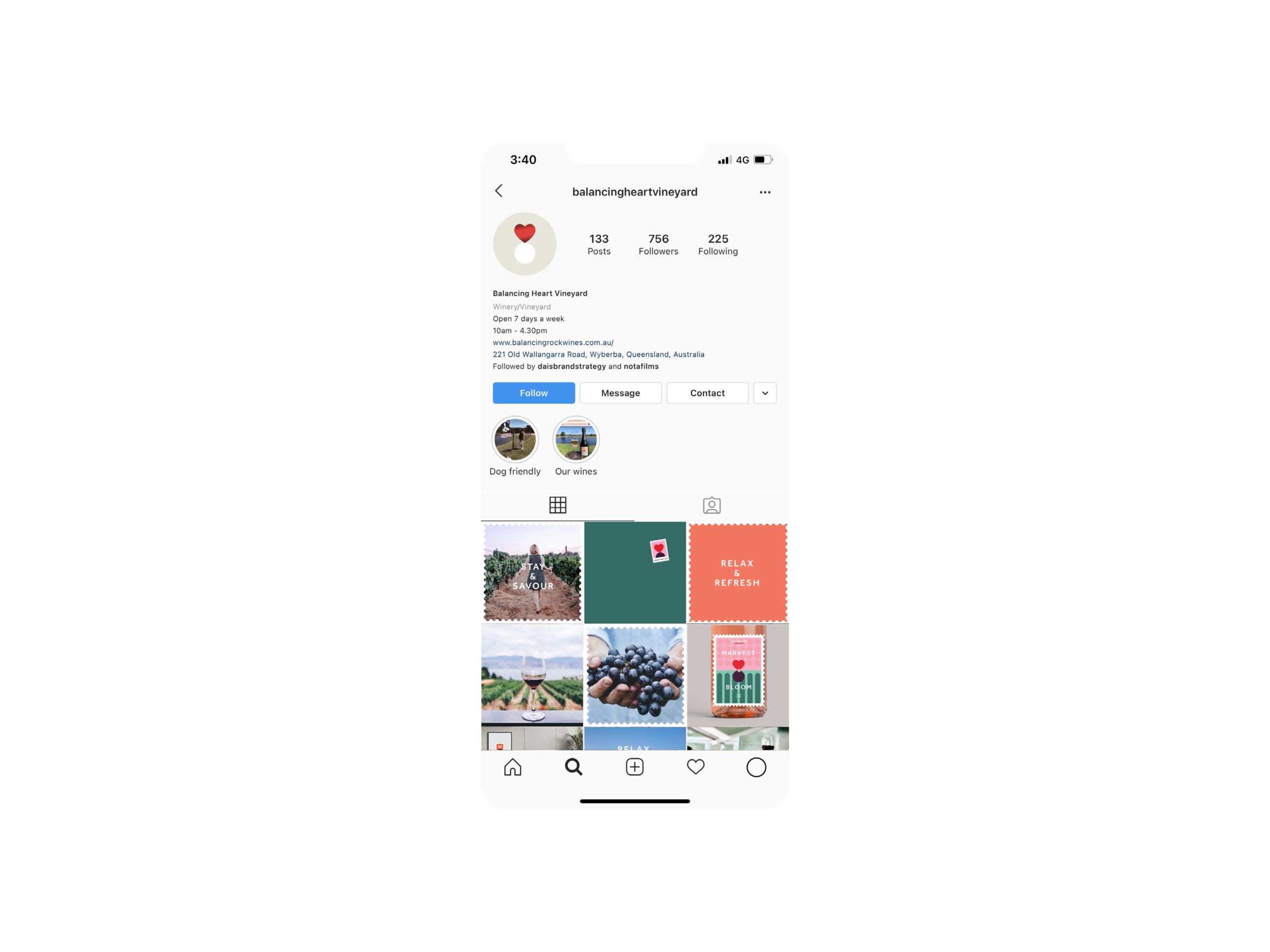 Balancing Heart wine instagram feed