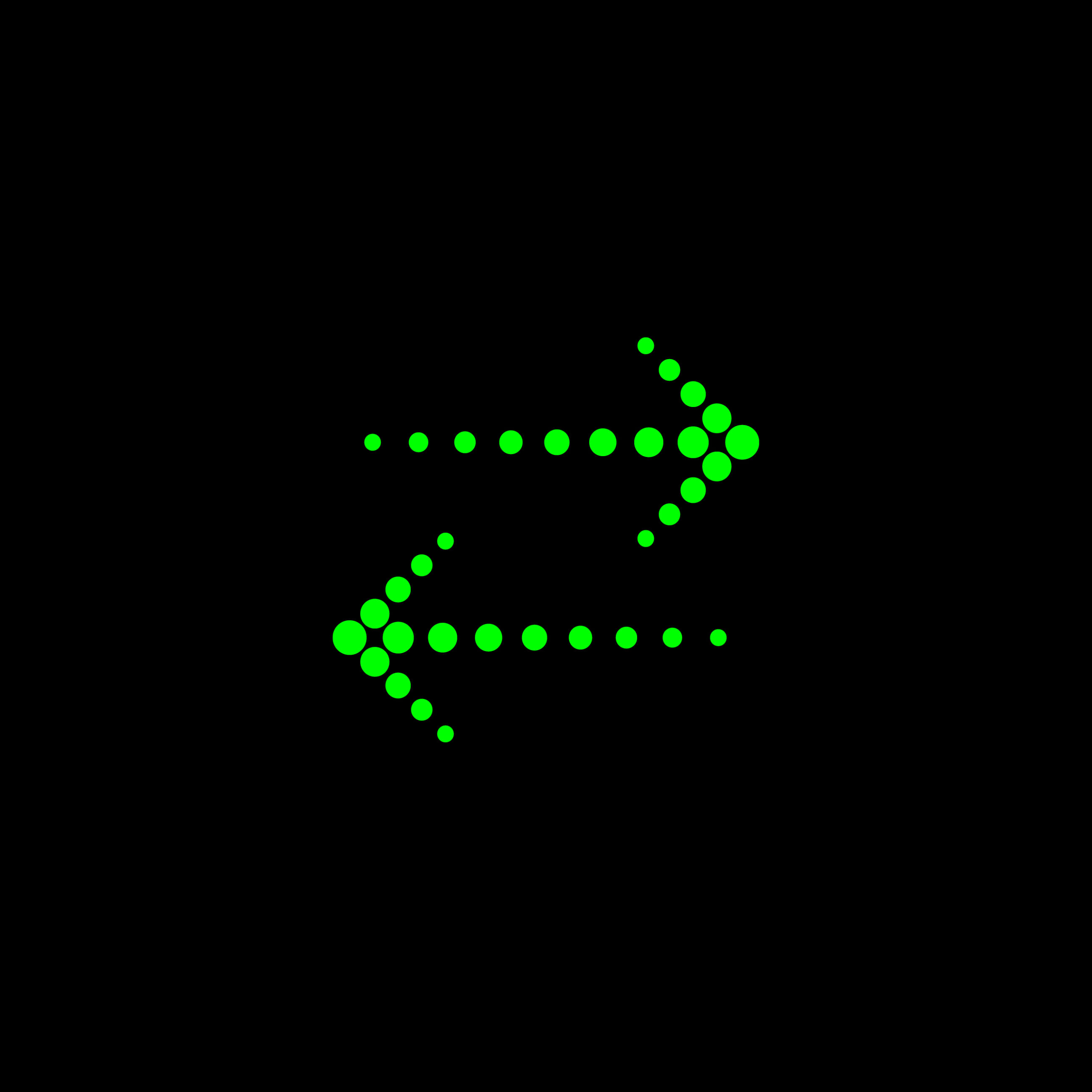 Bright green dotted arrows