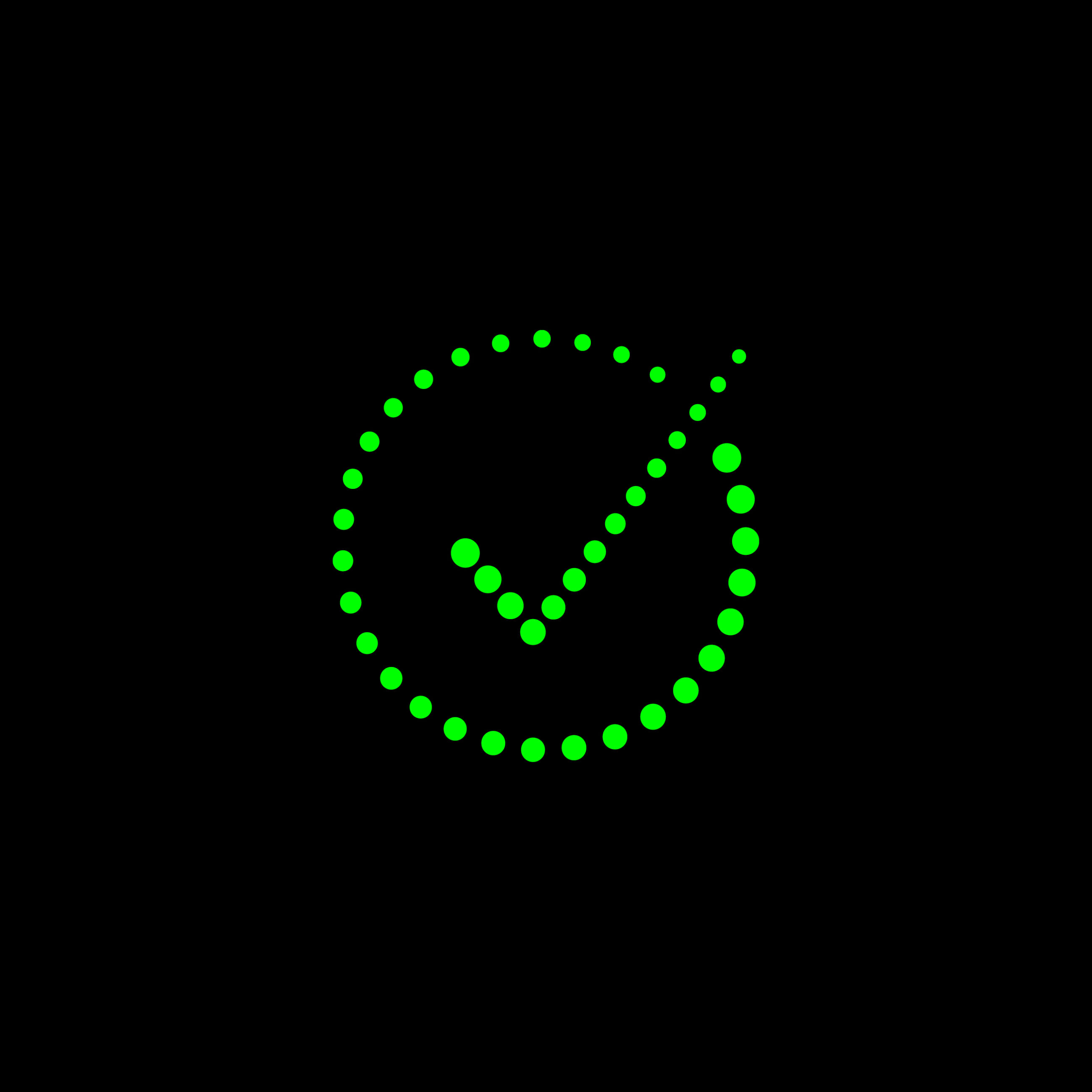 Bright green dotted tick in a circle