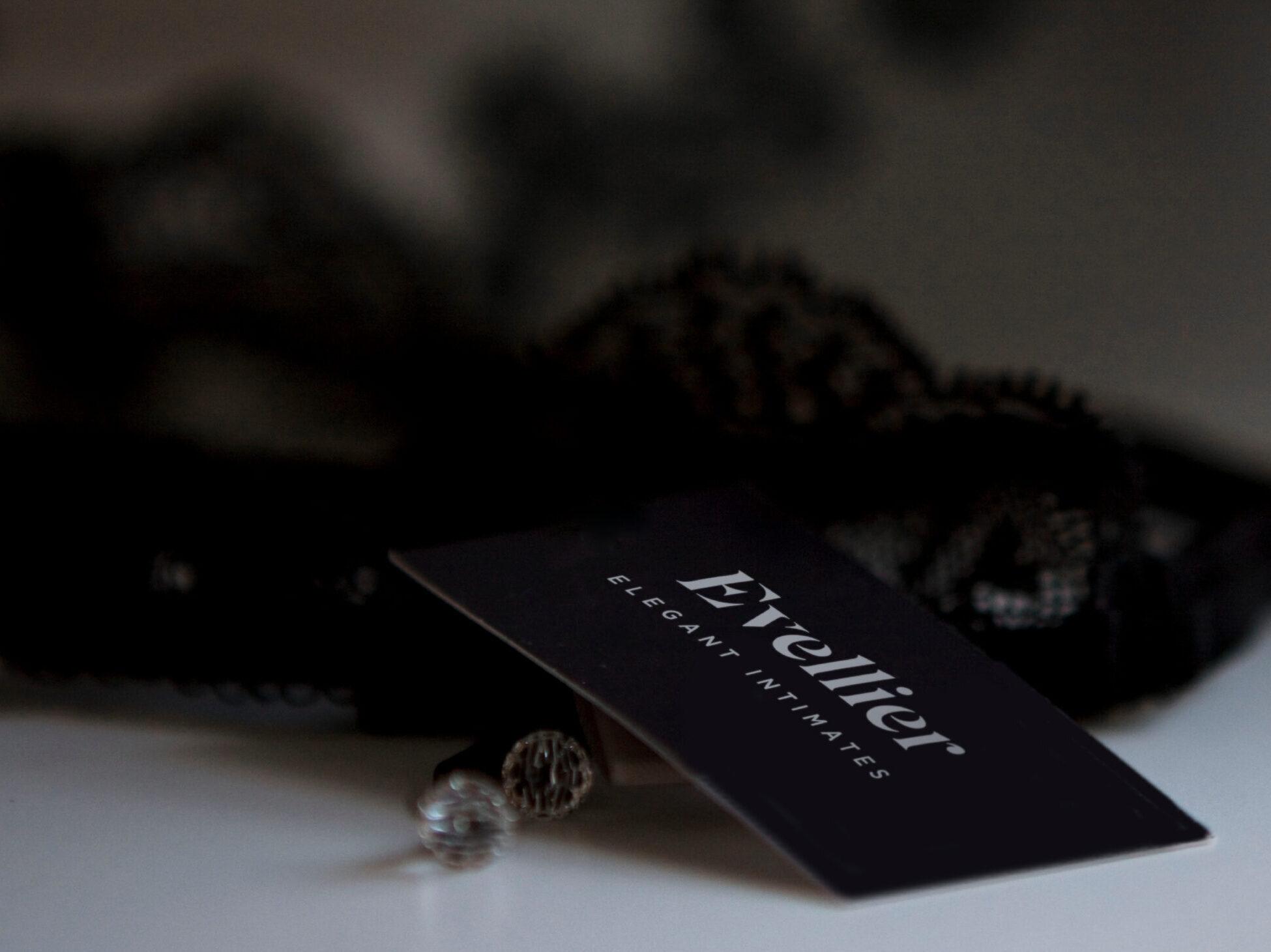 Evellier Elegant Intimates black business card