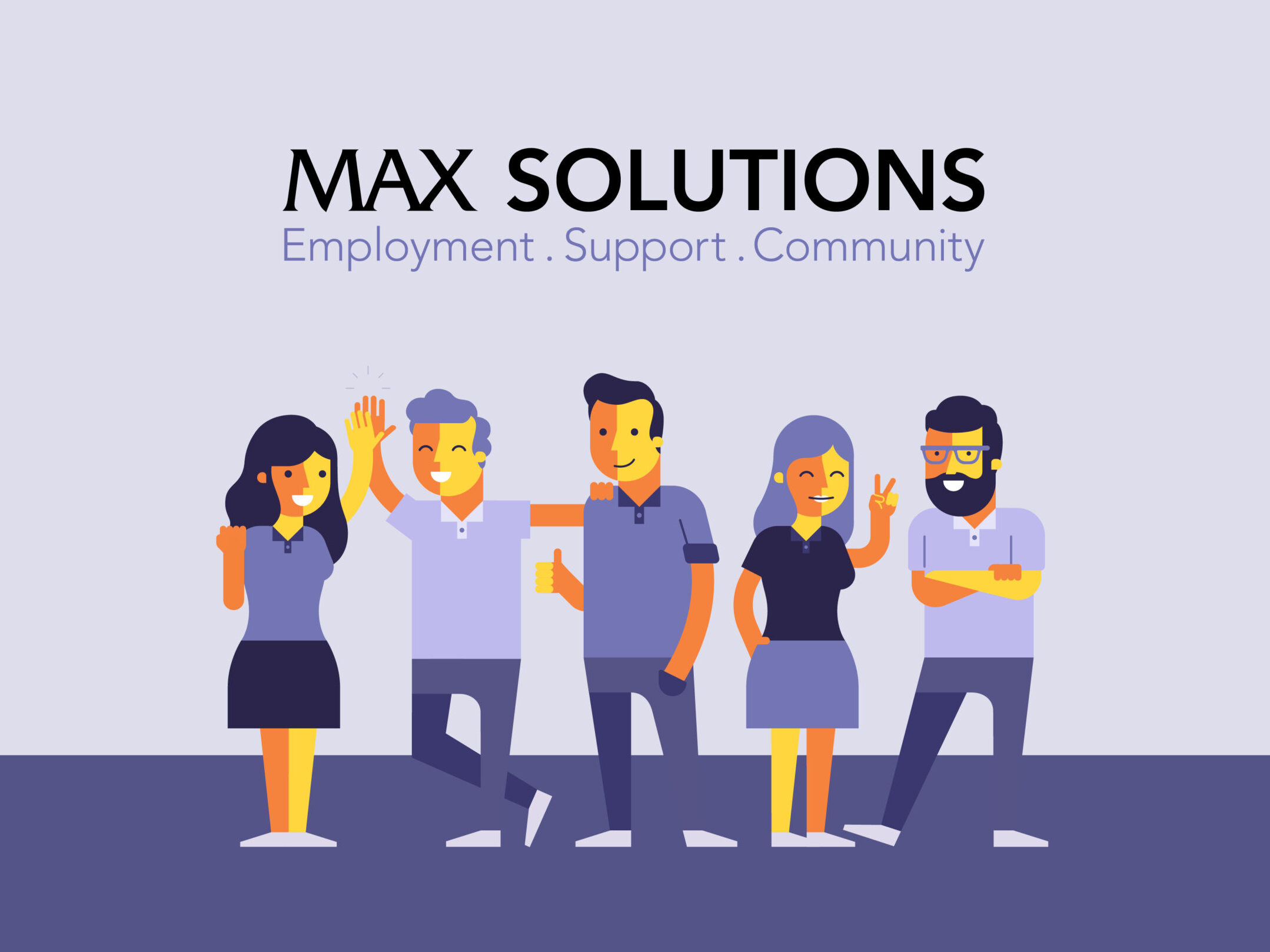 Max Solutions logo with five people standing together