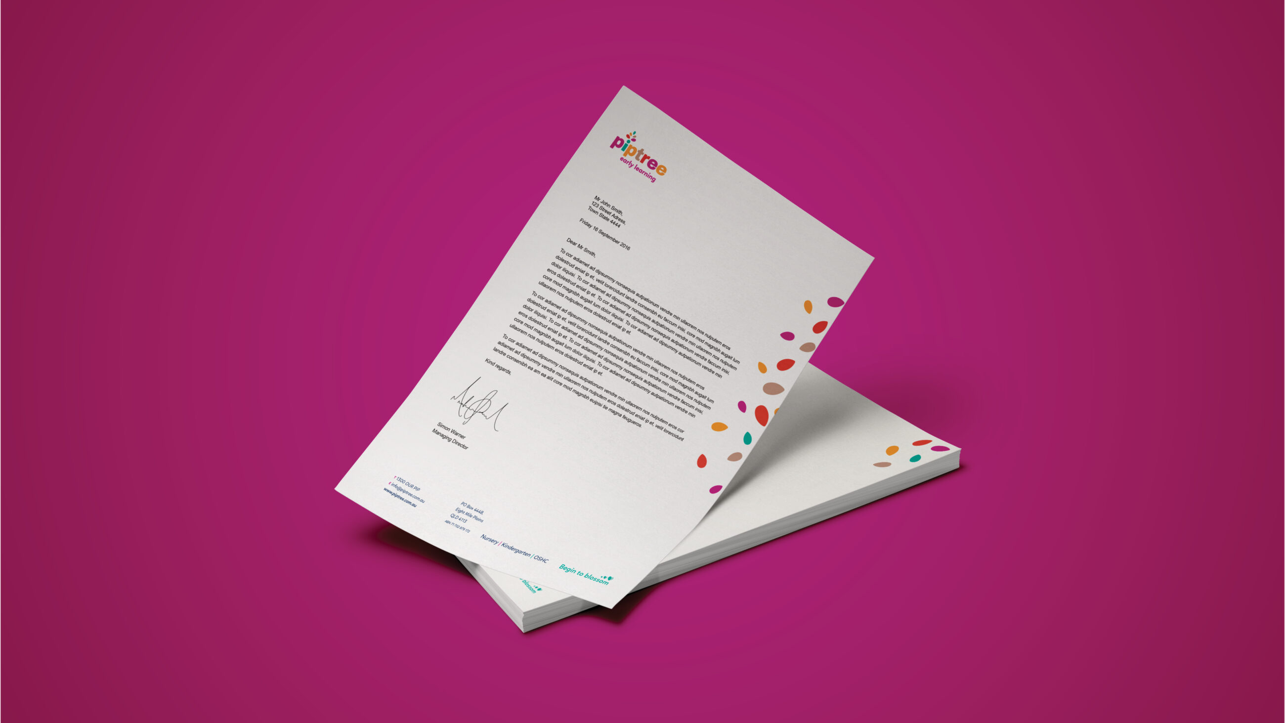 Piptree Early Learning - Letterhead example