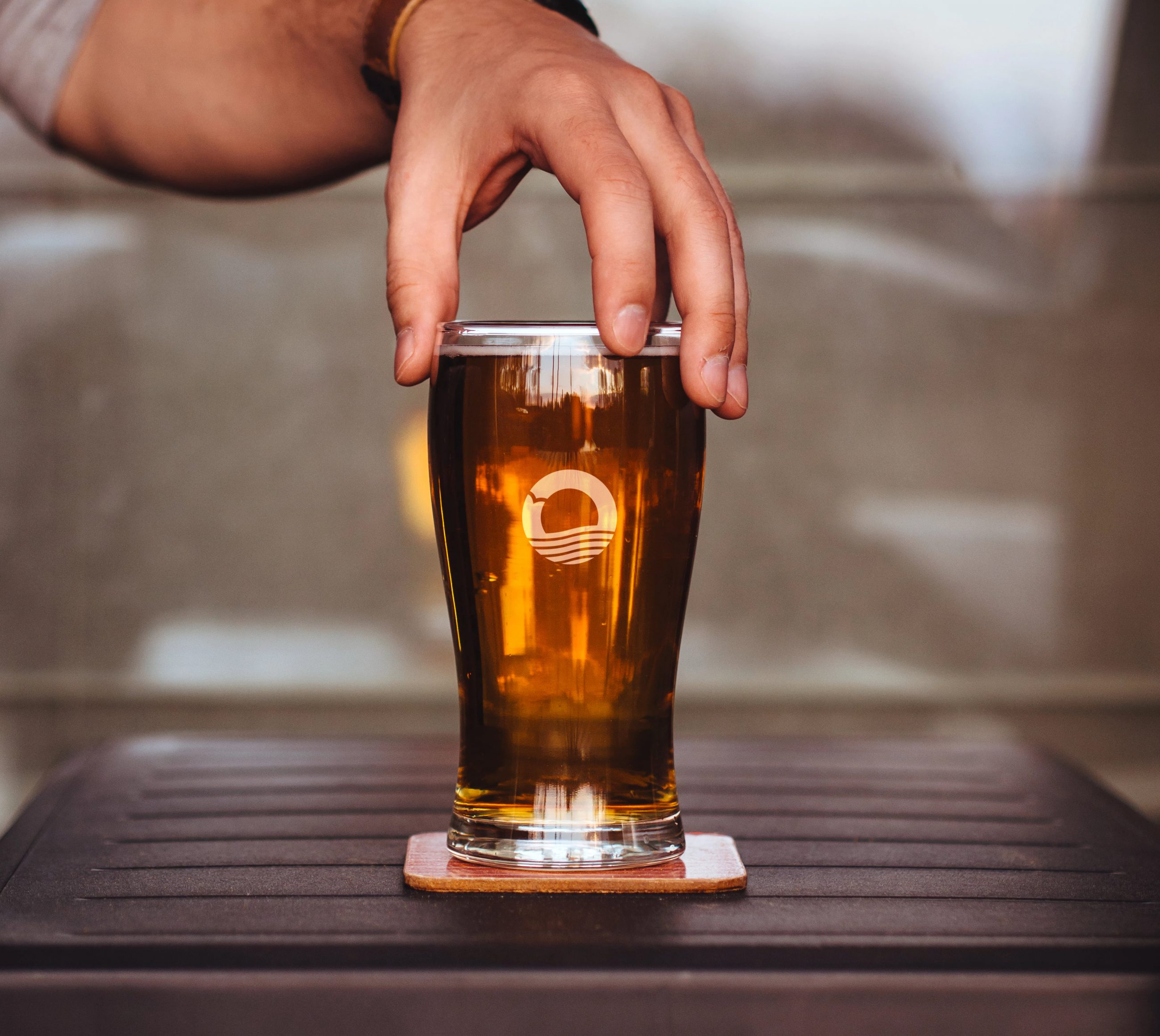 Branded glassware with new brand icon