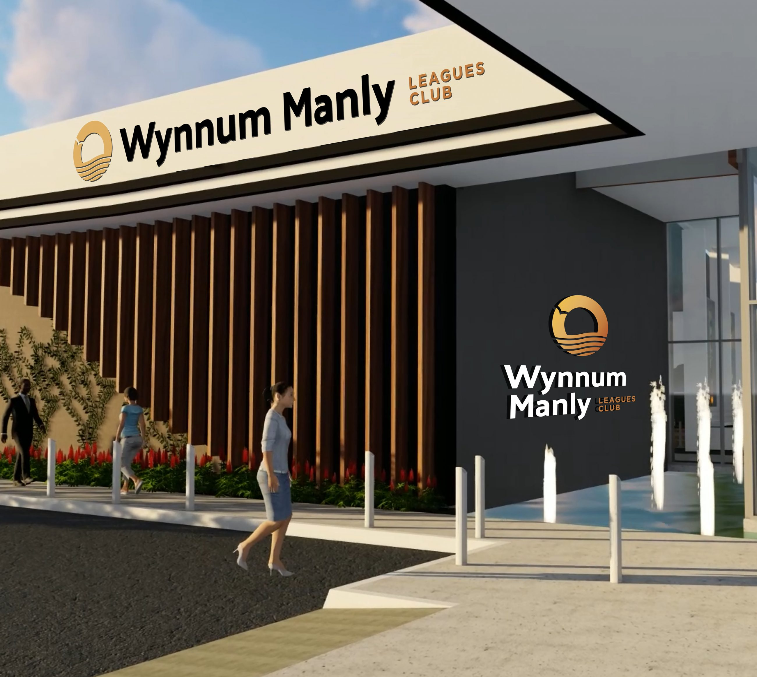 Wynnum Manly Leagues Club mockup images of new brand signage