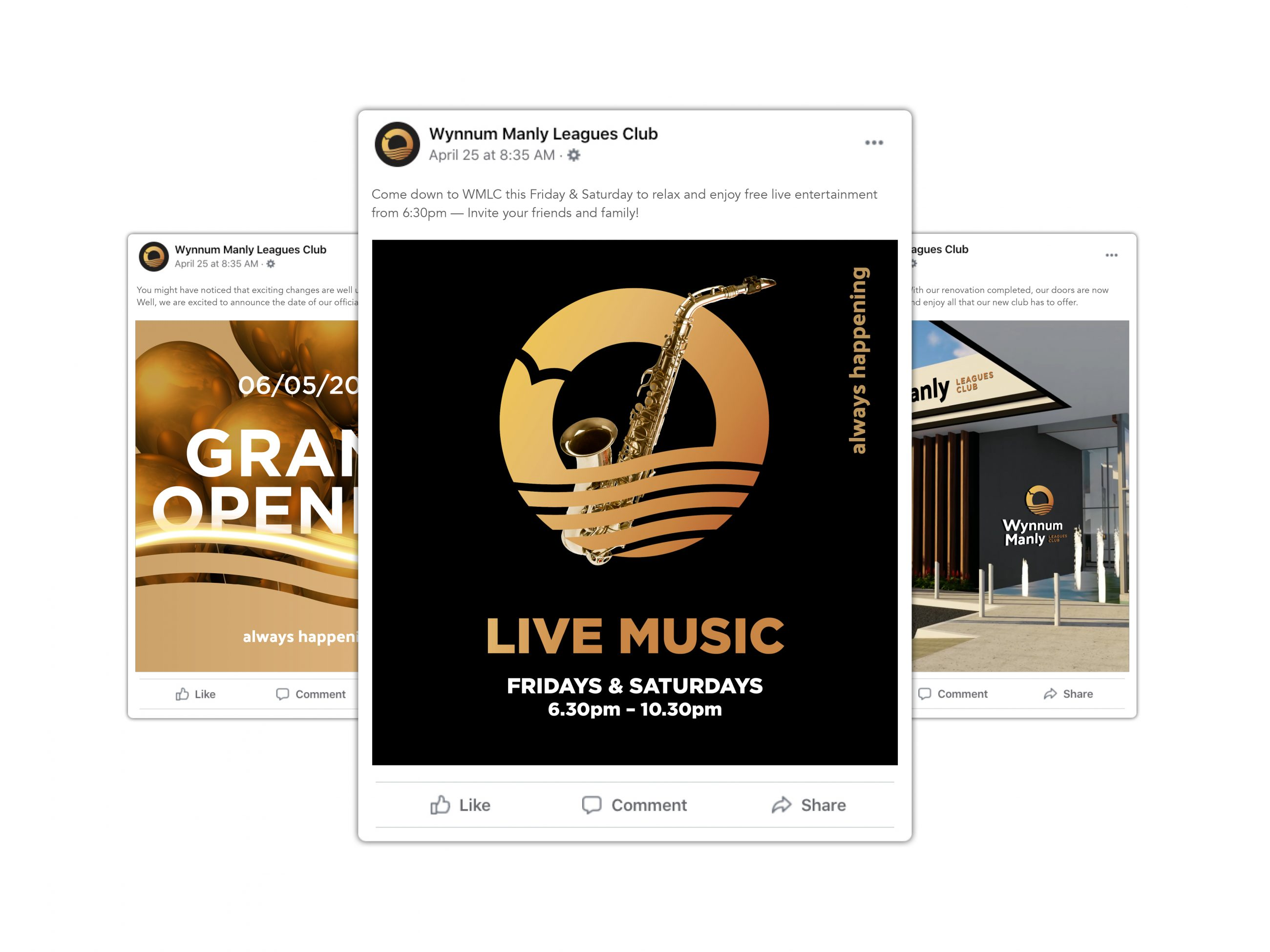 Social media posts designed for launch and promotion of social and community club